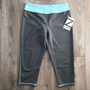 NWT Zella Girls Gray Blue Capri workout leggings
